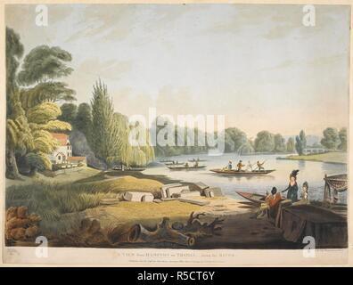 Ein kleines Häuschen, Bäume, Gras, Stapel von Holz und Felsen auf der linken Seite; ein Fluss auf der rechten Seite; die Zahlen fahren; Bäume in der Ferne. Eine Ansicht von Hampton an der Themse, - den Fluss hinunter. [London]: 30. Juni 1796 veröffentlichten, von John Harris Sweetings Alley, Royal Exchange & Nr. 8 Old Broad Street., [30. Juni 1796]. Aquatinta und Ätzen mit hand-Färbung. Quelle: Karten K. Top. 29.14. x. Sprache: Englisch. Autor: Edy, John William.
