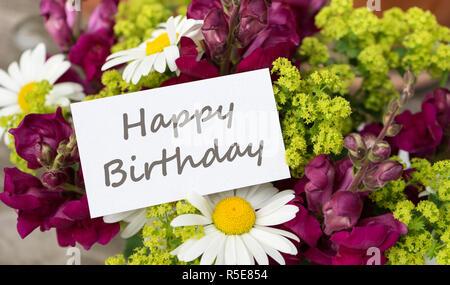 Geburtstagskarte Mit Lowenmaulchen Und Ganseblumchen Stockfoto Bild