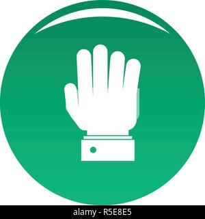 Hand Symbol anhalten. Einfache Abbildung von Hand stoppen Vektor Icon für das Design grün - Stockfoto