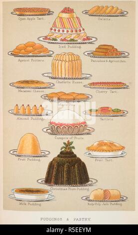 Hausgebackene Kuchen und Torten & Gebäck. Süße Gerichte: Öffnen Sie den Apple tart; Iced Pudding; Galette; Aprikose Krapfen; Charlotte Russe; Pfannkuchen & Aprikosenmarmelade; Macaroni Käse; Mince Pies; Törtchen. Kompott aus Früchten; Obstkuchen; Weihnachten Plum Pudding; Milch, Pudding; Roly-poly jam Pudding. Das Buch der Haushaltsführung... Völlig neue Edition, überarbeitete und korrigierte, mit neuen farbigen Holzschnitten. Bezirk, Schloss, Bowden & Co.: London, 1892. Quelle: 7942.dd.9, gegenüberliegenden Seite 804. Sprache: Englisch. Autor: ISABELLA BEETON, Maria. - Stockfoto