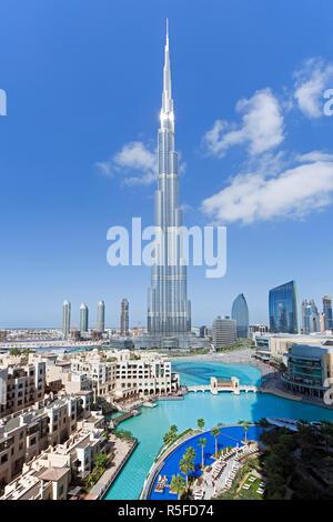 Das Burj Khalifa, abgeschlossen im Jahr 2010 die höchsten künstlichen Bauwerk der Welt, Dubai, Vereinigte Arabische Emirate - Stockfoto