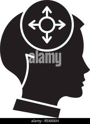 Entscheidungsfindung schwarze Symbol, Vektor Zeichen auf isolierten Hintergrund. Entscheidungsfindung Konzept Symbol, Abbildung - Stockfoto