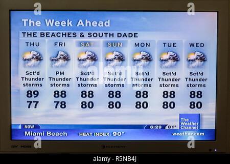 Miami Beach, Florida Flat Panel TV fernsehen Screenshot Medien das Wetter Kanal Kabel-temperatur Index ho Gewitter - Stockfoto