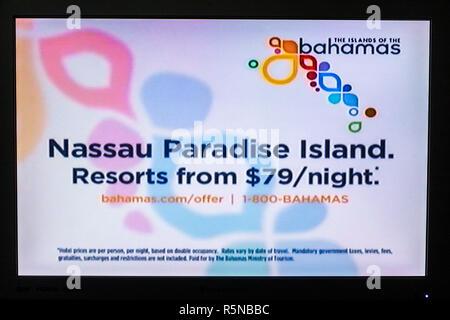 Miami Beach Florida Flachbildschirm TV-TV-Bildschirm erschossen Medien Werbung Werbung kommerziellen marketing Nassau Bahamas Resorts tour - Stockfoto