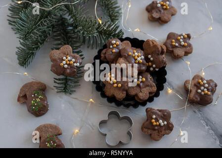 Schokolade Weihnachten Cookies - Stockfoto