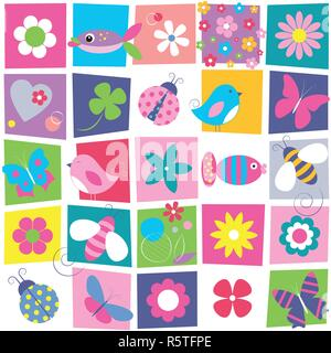 Vögel, Bienen, Marienkäfer, Schmetterlinge Fische und Blumen Sammlung Muster auf bunte rechteckige Hintergrund - Stockfoto