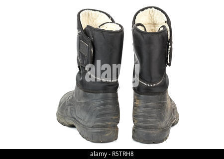 Isolieren Sie auf weiß. Blaue Schuhe - Stockfoto Blaue Schuhe  Die alten  Männer Stiefel aus Gummi, innen mit Fell isoliert. auf weißem Hintergrund. 22b0b9fa43