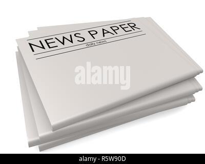 Stapel der leeren Zeitungen auf weißem Hintergrund - Stockfoto
