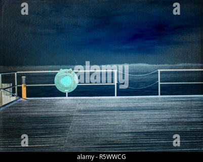 Abstrakte, über gefiltert. Vintage getönten schmutzige Linse Bild einer Pier bei Sonnenuntergang. - Stockfoto