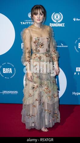 London, Großbritannien. 2. Dez, 2018. Molly Wright besucht die 21. British Independent Film Awards am Old Billingsgate. Credit: Gary Mitchell/SOPA Images/ZUMA Draht/Alamy leben Nachrichten - Stockfoto