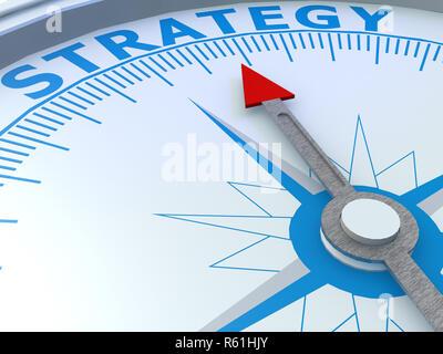 Strategie Wort auf Kompass isoliert - Stockfoto