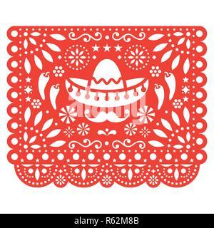 Volkskunst, retro Ornament aus Mexiko, schneiden Sie Komposition mit Blumen und abstrakten Formen isoliert auf weißem - Stockfoto