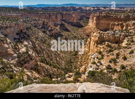Sids Mountain Wilderness Studie, von Ghost Rock Aussichtspunkt auf der I-70 Autobahn Freeway, San Rafael Swell Area, Colorado Plateau, Utah, USA - Stockfoto