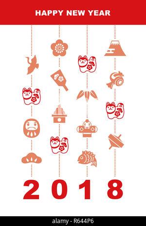 Neues Jahr Karte mit guardian Hund und viel Glück Elemente - Stockfoto