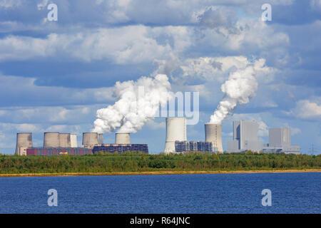 Kraftwerk Boxberg/Kraftwerk Boxberg, Braunkohle befeuerte Kraftwerk in der Nähe von Weißwasser/Weißwasser, Sachsen, Ostdeutschland - Stockfoto