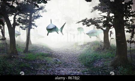 Haie schwimmen in Wald, Gruppe der Haie in der nebligen fantasy Landschaft fliegen, surreale 3D-Darstellung - Stockfoto