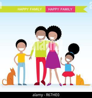 Portrait von vier Mitgliedstaaten der Afrikanischen amerikanischen Familie mit ihren Haustieren, posiert zusammen lächelte glücklich. Schöne Zeichentrickfiguren. Vector Illustration - Stockfoto