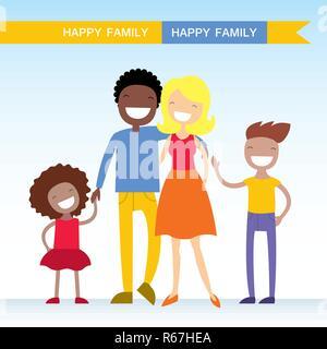 Portrait von vier Mitgliedstaaten der gemischten Rennen Familie zusammen Posieren und glücklich lächelnd. Schöne Zeichentrickfiguren. Vector Illustration - Stockfoto