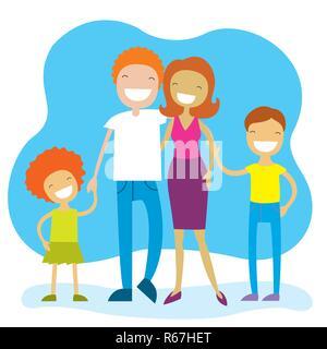 Portrait von vier Mitgliedstaaten Familie zusammen Posieren und glücklich lächelnd. Schöne Zeichentrickfiguren. Vector Illustration - Stockfoto