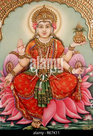 Göttin Lakshmi laxmi Miniaturmalerei auf Elfenbein - Stockfoto