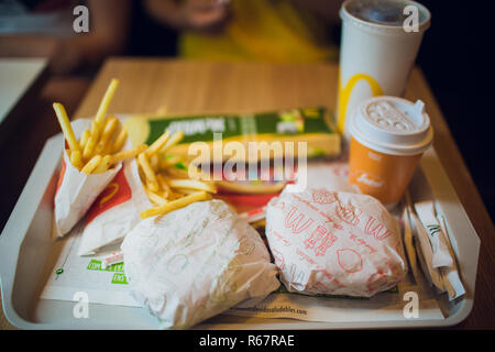 BARCELONA, SPANIEN - 22. AUGUST 2018: Combo, mcdonalds. - Stockfoto