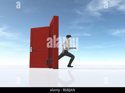Junger Mann, der mit einem geöffneten Tür. Dies ist ein 3D-Render Abbildung - Stockfoto