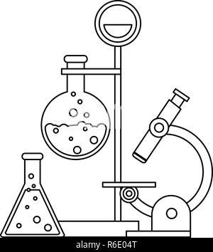 Wissenschaftliche Experimente und Untersuchungen Schwarz und Weiß - Stockfoto