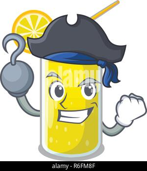 Pirate Zitronensaft Glas auf Cartoon Form Vector Illustration - Stockfoto