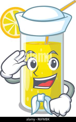 Sailor Zitronensaft Glas auf Cartoon Form Vector Illustration - Stockfoto