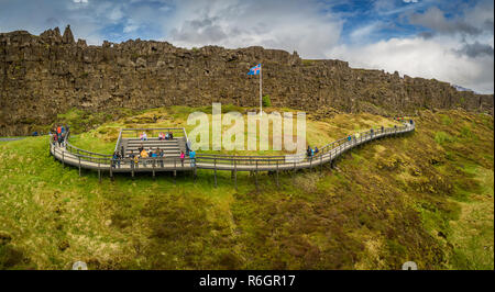 Almannagja Riss, den Nationalpark Thingvellir, Island - Stockfoto