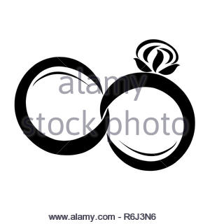 Hochzeit Logo Paar Ringe Symbol Vektor Abbildung Bild 112057893