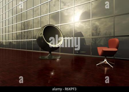 3D-Redering von zwei moderne Stühle einander gegenüber, in der äußeren Deck eines Bürogebäudes - Stockfoto