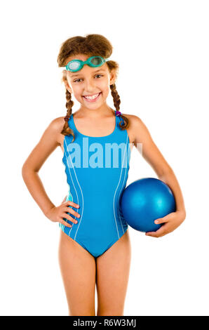 Kleines Mädchen im Badeanzug isoliert auf weißem - Stockfoto