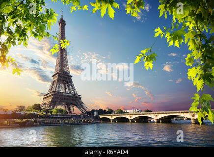Eiffel Turm und Brücke - Stockfoto