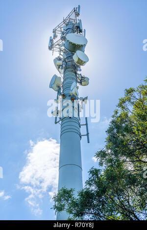Telekommunikation Mast mit TV-Antenne und Handy Sender vor blauem Himmel - Stockfoto