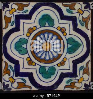 Ornament Kachel, Blau, Grün und Braun auf Weiß, zentrale Rosette mit 4-step Variante Rahmen, Ecke Motiv, Flügel, wandfliese Kachel skulptur keramik Steingut glasiert, gebackene 2 x glasierte Gelb lackiert Shard schiefen Kanten entfernt. Drei Nagellöcher. Blau auf Weiß Mandala ziehen Hellblau Dunkelblau grün gelb braun - Stockfoto