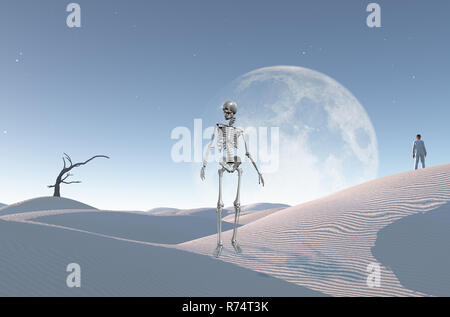 Surreale Weiße Wüste mit trockenen Baum, Mond am Horizont. Mann im weißen Anzug und Bowler steht auf einer Sanddüne. Skelett symbolisiert den Tod. - Stockfoto