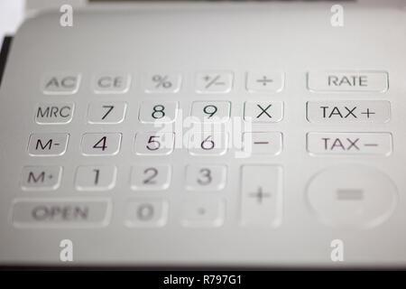 Taschenrechner Pad mit Zahlen - Stockfoto