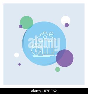 Versicherung, Heim, Haus, Unfall, Schutz weiße Symbol Leitung Bunter Kreis Hintergrund - Stockfoto
