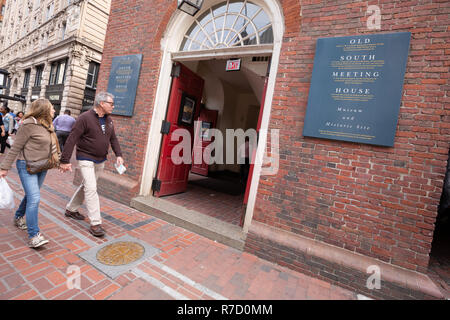 Old South Meeting House auf dem Freedom Trail in Boston, MA, USA - Stockfoto