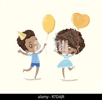 Baby Geburtstag Ballon Tanz Poster. African American Boy Charakter viel Spaß mit Freundin. Grußkarte Design. Flache Vektor Cartoon Illustration. - Stockfoto