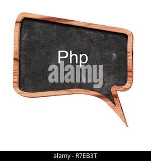 Php Wort Konzept auf Sprechblasen aus Holz auf weißem Hintergrund - Stockfoto