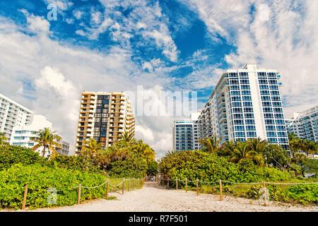 Miami South Beach. Sommer Urlaub, idyllischen sandigen Weg vom Strand mit grünen Palmen, Hochhaus, Appartement Häuser oder Gebäude. Die Skyline der Stadt. Städtische Landschaft - Stockfoto