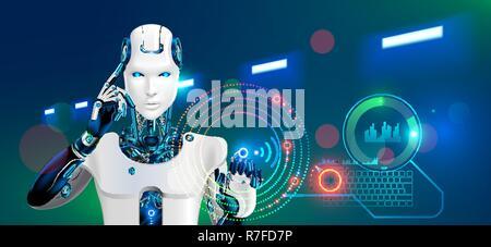 Roboter arbeitet in der Fabrik. Humanoider Cyborg oder Android mit Ai tippt auf die Schaltfläche auf der virtuellen HUD grafische Schnittstelle. Konzept der Automatisierung der Produktion Technologie in Zukunft. 4 Branche Revolution. - Stockfoto