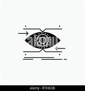 Aufmerksamkeit, Auge, Fokus, suchen, vision Glyph Icon. Vektor isoliert Abbildung - Stockfoto