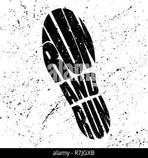 Schwarze Schuhe grunge Silhouette mit den Wörtern - Stockfoto