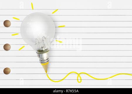 Glühbirne mit gelben Bleistift auf gestreifte Notebook - Kreativität und Idee, Konzept - Stockfoto