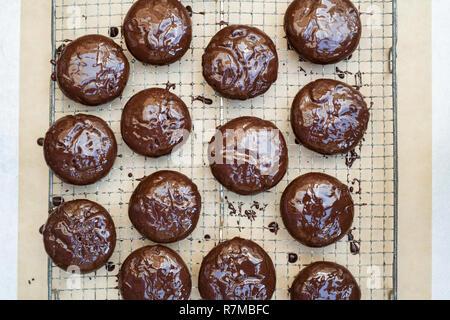 Hausgemachte dunkle Schokolade stem Ginger biscuits - Stockfoto