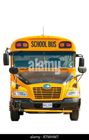 Ein Ausschnitt, der Vorderansicht eines gelben Schulbus. Stockfoto