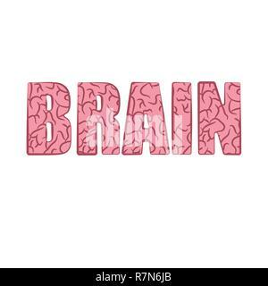 Rosa abstrakte Silhouette des menschlichen Gehirns Wort - Stockfoto